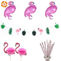 Compra Rifornimenti Di Nuoto-1 Set Bandiera Ghirlanda Palloncini FoilCupcake ToppersPaper Straws Decorazione Del Partito Flamingo Piscina Hawaiian Party Supplies