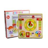 aprendiendo relojes de juguete al por mayor-Nuevo diseño educativo juguete reloj de madera bebé niños fecha aprendizaje desarrollo versátil aleta ábaco reloj de madera juguete