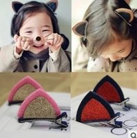 Wholesale Wholesale Bangs - hair barrettes hairpins hairgrips clip for Women girl Hair Accessories headwear holder bun bang cute cat ear glitter