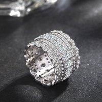 Wholesale Finger Promise Ring - Originality Women Lace Style AAA Cz Gemstone 14KT White Gold Filled Ring Engagement Wedding Band Finger Promise Ring