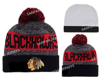 Wholesale Best Artificial - Hot Collection Ice Chicago Hockey Beanies Team Hat Winter Caps Popular Blackhawks Beanie Skull Caps Best Quality On Field Sports Knit Beanie