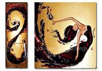 pintura al óleo bailarina al por mayor-Pintado a mano abstracto pintura al óleo sobre lienzo Flying Dancing Girl Dibujar pinturas para el hogar decoración de la pared de dos imágenes combinadas