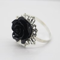 Wholesale Napkin Holders For Table Decoration - Wholesale- 10pcs Black Rose Decorative Silver Napkin Ring Serviette Holder for Wedding decoration Party Dinner Table Decoration Accessories
