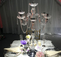 Wholesale table candelabra crystal wholesale - elegant tall Weddings Cheap Wholesale Antique crystal candelabra Gold Metal 5 arms Candelabras Centerpieces for wedding table decoation