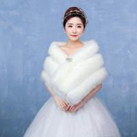 Wholesale Elegant Wedding Shawls - Luxurious Faux Fur Coat Wedding Shawl Women Winter Jacket Wedding Dress Cloak Elegant Faux Fur Bridal Wraps