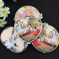 Wholesale Mirrors Chinese Wholesale - High quality Chinese ancient wind beauty ladies figure silk portable double-sided folding makeup mirror HM013 mix order as your needs