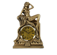 Wholesale Desk Resin Craft - Wholesale-Sexy Hunger Lady Statue Desk Clock Decorative Resin Character Table Clock Art and Craft Embellishment Accessories Furnishing
