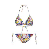 Wholesale 3d Sexy Cartoon Girls - Bikini 2017 Fashion women 3D cartoon character printed hang neck style sexy Lingerie two pieces bikini lovely girls swimsuit free shipping
