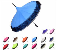 Wholesale Golf Umbrella Lace Elegant Semi automatic Fancy Sunny And Rainy Pagoda Umbrellas Colors Available DHL