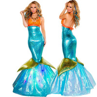 Wholesale Sexy Carnival Clothing - Woman Mermaid Cartoon Costume Fairy Tale Long Dress Halloween Carnival Party Dress Sexy Uniforms Character Costumes Wholesale Clothes