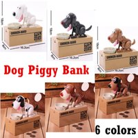 Wholesale Wholesale Battery Operated Dog Toy - Cute Dog Piggy Bank Eat Money Saving Coin Box Can't Resist Taste So Good Nice Christmas Toy for Kids DHL free