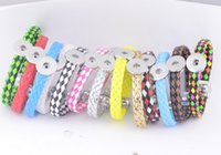 Wholesale 12mm rope chain - Leather Bracelets Noosa Bracelets Ginger Snap Jewelry Interchangeable 12mm Snap Buttons Nature Legther Bracelets 16 Mix ColorsNAB004
