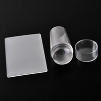 ingrosso chiodi di timbratura-Modelli di arte del chiodo Pure Clear gelatina in silicone Nail Stamping Piastra raschietto con tappo Nail Timbro trasparente OOA2230