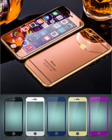 Wholesale Iphone 4s Full Package - For iphone 7 Colorful Tempered Glass Screen Protector Mirror Style Plating Front and Back Film With Retail Package For iphone 4s 5s 6 7 plus