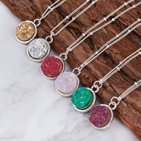 Wholesale Druzy Fashion Necklaces - DoreenBeads 2016 Summer Handmade Druzy Drusy Resin Cabochon Round Pendant Necklace New Fashion Bohemia Woman Jewelry