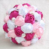 Wholesale Chinese Wedding Bouquets - New Pink Peony Artificial Bridal Flower Wedding Bouquet Flowers Bridal Brooch Bouquets buque de noiva Bridesmaid Flower Bouquet CPA816