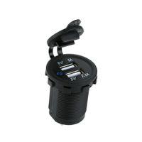 steckdose ladegerät großhandel-Großhandels-Auto-Motorrad-Doppel-USB-Auto-Ladegerät-Stromadapter-Sockel-wasserdichtes Handy-Ladegerät-LKW-Kleinbus für ATV-Boot