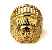 Wholesale Indian Head Charms - 2017 cool Men Bling Ancient Maya Tribal Indian Chief Head Jewelry Gifts Hip Hop Rings 18k Gold Plated Charm Steel