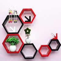 Wholesale Decorative Wood Shelves - 3pieces lot Hexagon Shaped Decorative Wall Shelves Wood Wall Shelf Modern Red,black,white 3D Storage Holder Ornament Free Shipping ZA3860
