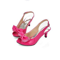 Wholesale Bow Pink Peep Toe - Fashion Women Sandals 2017 Summer Shoes Woman Sandals Peep Toe Big Bow Ladies Heel Sandals Big Size Womens Shoes Red Blue