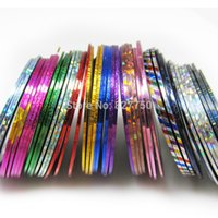 Wholesale Nail Art Tips Striping Tape - New Fashion 100Pcs Lot Mixed Colors Nail Art Tips Decoration Sticker Striping Tape Line High Quality