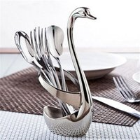 Wholesale Stainless Steel Swan Dinnerware Set Fruit Dessert cutlery Set for Swan Base Holder with Forks ladles