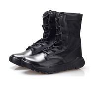 Wholesale Mens High Heel Motorcycle Boots - High quality Ultra Light Breathable Tactical Boots Mens Police Army Combat Boots US Army Shoes Desert Black size 37---46