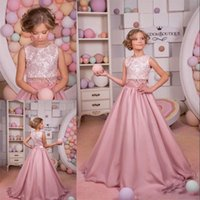 Wholesale Two Piece Pageant Girl Dress - 2017 Blush Pink Lace A Line Two Pieces Flower Girl Dresses Jewel Neck Vintage Little Girls Pageant Dresses Satin Flower Girl Girls