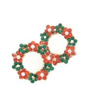 Moda Pequena Fota Garland Ear Stud Earring Circle Flower Floral Brincos Gift Jewelry Accessory Wholesale 10 Pairs
