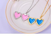 Wholesale Heart Shape Pendants For Couples - Titanium Steel Loving Heart Necklace Can Be Opened and Put a Small Photo for Women or Couple Peach Heart-shaped Box Necklace