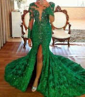 Wholesale Shiny Mermaid Dress - Gorgeous Green Evening Dresses with Long Sleeves 2017 lace mermaid Prom Dresses beaded Shiny Crystal Front Slit Formal Gown robe de soiree