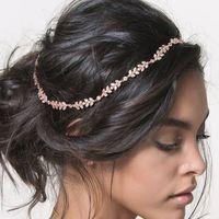 Wholesale Boho Hair Accessories - Crystal Bridal Headband Silver Gold Wedding Hairband Rhinestone Bridal Headpiece Boho Bridal Hair Piece Bohemian Wedding Hair Accessories