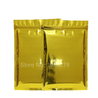 Wholesale Heat Set Fabric - High quality 10x15cm(4x6in), 100 X Glossy Gold Zipper Top Heat Sealing Flat Pouch Aluminum Mylar Ziplock Storage Bags