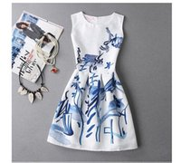 Wholesale Sweet Lady Maxi - Printing Maxi Dress Long Sleeves Sleeveless Sweet A A-line Skirt Casual Dresses For Women Clothes Woman Clothing Ladies