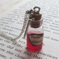 Wholesale Blood Sword - 12pcs lot Demon Blood Bottle Necklace Pendant sword charm inspired by Supernatural silver tone jewelry