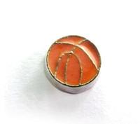 Wholesale Enamel Magnetic - Wholesale 20PCS lot Enamel Basketball Sport Floating Locket Charms Fit For Glass Living Magnetic Memory Lockets