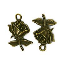 Wholesale Wholesale Bronze 18 Necklaces - Wholesale-Latest Designed 18*25mm 10pcs lot Vintage Antique Bronze Rose Charms Pendant Jewelry findings for DIY fashion necklace BJI206-77