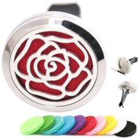 Wholesale rose aroma - AMYA Silver Rose Flower 30mm Diffuser 316 Stainless Steel Car Aroma Locket Essential Oil Car Diffuser Lockets Free Pads