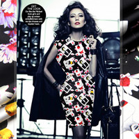 Wholesale Photos Cheongsam - 118cm wide 19mm 93% silk & 7% spandex photos print black stretch silk satin fabric for dress shirt clothes cheongsam D421