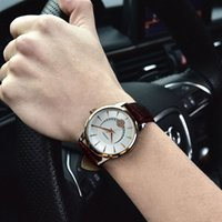 Wholesale Sinobi Watches Quality - SINOBI High Quality Men's Casual Watch Rose Gold Watch Men's Leather Crystal Watch Gents Clock Hours