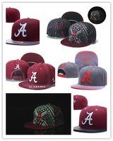 Wholesale Snapback Hat Usa - Free Shipping Men's Alabama Crimson Tide NCAA Snapback Hats In Black Color Reflective Design USA College Letter A Logo Adjustable Caps