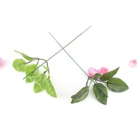 Wholesale Branches For Wedding Decorations - 100pcs Artificial Leaf Branches flower Silk Green Leaves for party wedding decoration Scrapbooking Craft Fake Flower