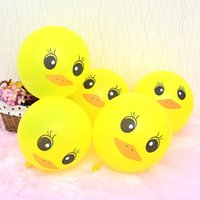 Wholesale Duck Birthday Party Supplies - 100pcs 12 inches Latex balloon ball small yellow duck cartoon balloon children birthday party festive decorative supplies special