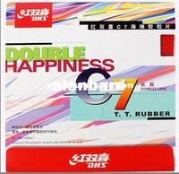 tischtennis langer pimple gummi großhandel-Hot-2PCS-DHS Tischtennisball C7 Lange Pips-Out Rubber Doppelte Glück LANGE PIMPLES Pingpong-Gummi mit Schwamm