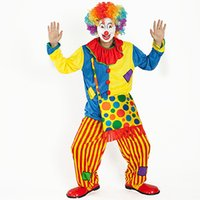 Wholesale Clown Cartoon - 2017 New Classic Halloween Men And Women Cosplay Costume Cartoon Characters Clown Costume Make-up Ball Clown Backpack Adult Suit