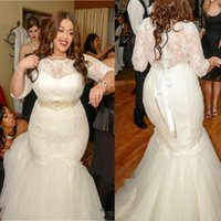 Wholesale Dress Vitage - Vitage 2017 Plus Size Wedding Dresses Mermaid Illusion 3 4 Long Sleeves Wedding Bridal Gowns Button Back Wedding Gown Cheap