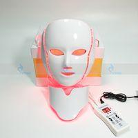 Wholesale Home Led Light Therapy Machine - PDT 7 LED Beauty Light Therapy Face Neck Mask Photon Facial Rejuvenation Microcurrent Skin Care Device Mini Home Salon Machine