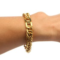Wholesale Stainless Steel Bracelet 15mm - New Hip Hop 18k Gold Stainless Steel 12mm 15mm Mens Cuban Miami Link Bracelet Jewelry Drop Shipping