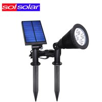 Wholesale Landscape Led Lumens - Wholesale-SOLSOLAR LED Solar Spotlight Outdoor Wall lights Ground Lights 4 LED Waterproof Security Lamp 200 Lumens LED Landscaping Lights