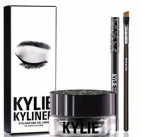 Wholesale Cosmetic Pen Dark Brown - Kylie Eyeliner Pen Gel Eyebrow Brush KYLINER KIT Black Brown Bronze Chameleon Dark Bronze Eyes Make up Cosmetics